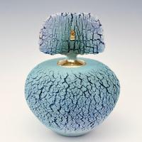 Turquoise dekselpot met stele - Jolanda Verdegaal