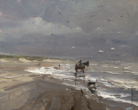 Horse Carriage running through the water Just before Rain - 24 x 30 cm - Roos Schuring