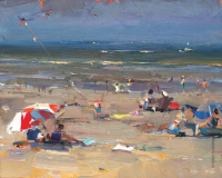 Red and White Parasol - 24 x 30 cm - Roos Schuring